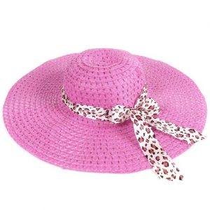 Unique Bargains Traveling Camping Stretchy Strap Braided Visor Hat Summer Cap Pink for Ladies