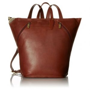Visconti Ladies Triangular Leather Backpack Rucksack Large, Brown, One Size