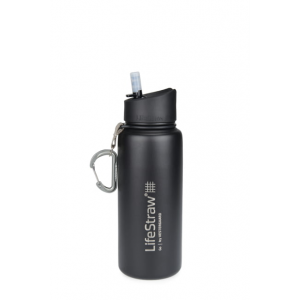 LifeStraw Go Stainless Steel Water Filter Bottle, Black, One Size
