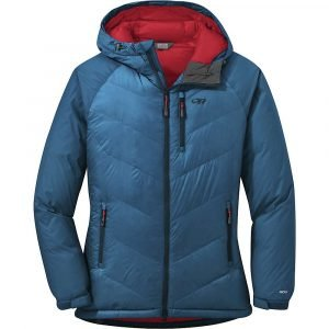 Outdoor Research Women's Alpine Down Hooded Jacket - Large - Celestial Blue