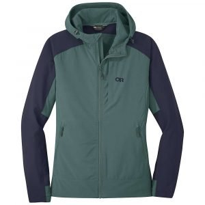 Outdoor Research Women's Ferrosi Hooded Jacket - Small - Blue Spruce / Naval Blue