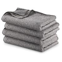 """Military Style Wool Blend Blankets, 4 Pack, 60"""" x 80"""""""