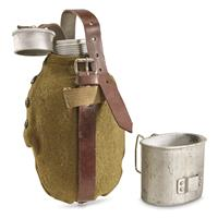 Romanian Military Surplus Canteen with Wool Cover and Cup, Like New
