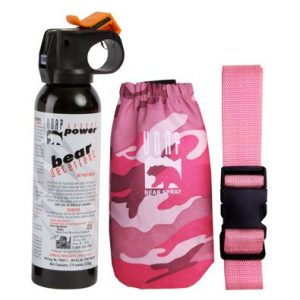 UDAP Pepper Power Premium Bear Spray with Pink-Camouflage Hip Holster and Belt