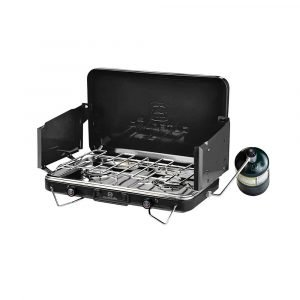 Outbound Portable Double Burner Gas Camping Stove, Black