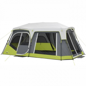 Core Equipment 12 Person instant Cabin Tent with Double Awning, Green/Gray, 18 x 10 ft